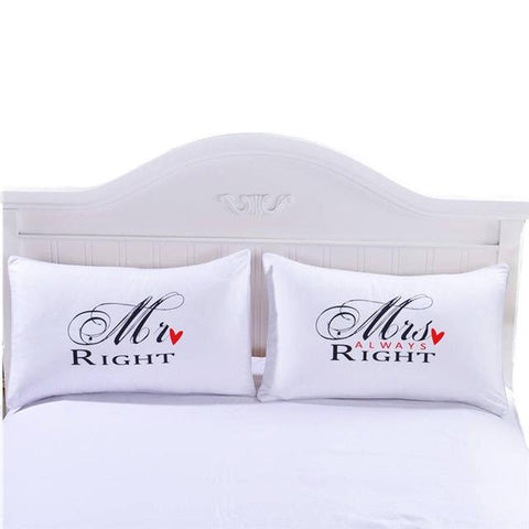 $14.88- Beddingoutlet Mr Mrs Pillowcases Couple Pillow Shams For Him Or Her Christmas Romantic Anniversary Wedding Valentine'S Gift