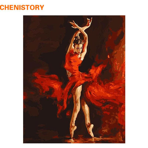 $19.05- Chenistory Fire Ballet Dancer Diy Digital Painting By Numbers Kit Coloring Painting By Numbers Wall Art Picture For Wall Artwork