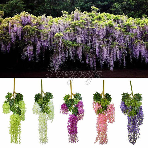 $26.26- 12Pcs 105Cm Silk Artificial Hanging Flower Silk Wisteria Plants Fake Flower Decorative Flower Wreaths For Wedding Home Decor