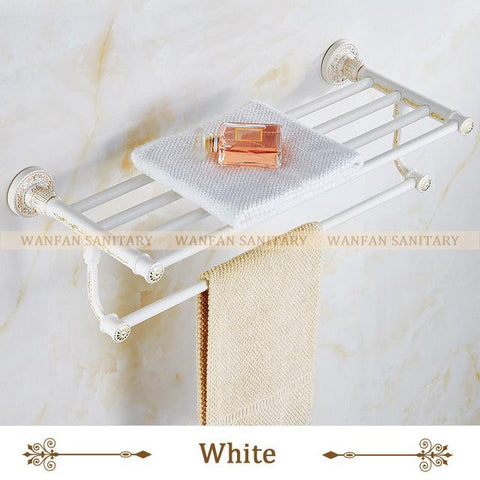 New White Towel Shelf Antique Bath Towel Rack Active Bath Towel Rack Bathroom Cloth Holder Antique Double Towel Shelf Sl7841