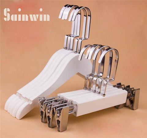 Sainwin 10Pcs/Lot Hight Quality Children Solid Wood Hanger Kids White Wooden Hangers For Clothes Rack Child Trousers Clips