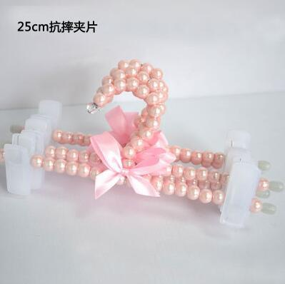 $28.78- Sainwin 5Pcs/Lot 25Cm Child Pearl Plastic Hangers Pink Pant Clips Baby Hangers For Pant Skirt Bra Clothes Racks