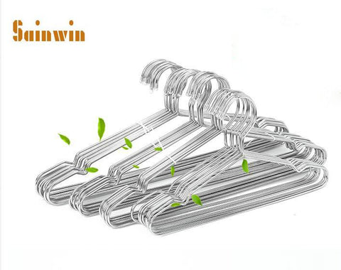 $23.38- Sainwin 10Pcs/Lot Thick 3.2Mm Stainless Steel Hangers For Clothes Pegs Adults Children Stainless Steel Hangers