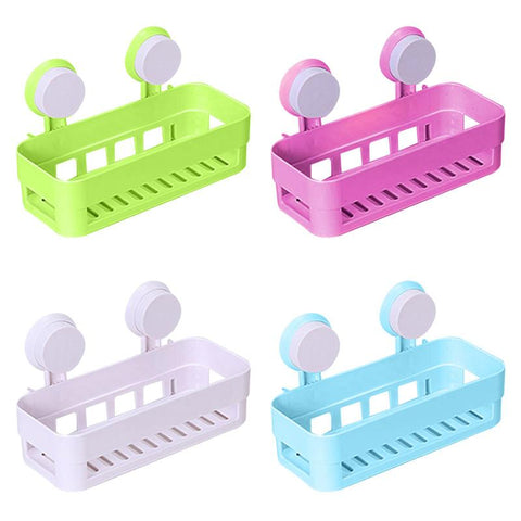$13.79- 4 Colors Durable Plastic Suction Cup Bathroom Wall Mounted Shelf Kitchen Storage Holder Rack Home Storage Gadgets