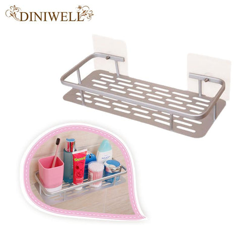 $15.37- Aluminum Silver Rectangle Wall Mounted Bathroom Storage Shelf Kitchen Holders Basket Rack Organization