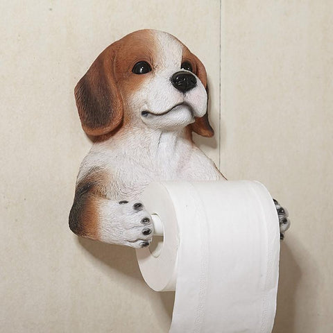 Bathroom Accessory Set Creative Resin Crafts Simulation Dog Toilet Roll Holder Paper Towels Hanging Rack Perforated Wall