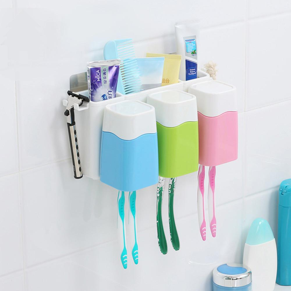 Luxury european fashion resin bathroom products accessories set high - 2017 Hot Creative Bathroom Toothbrush Holder Cup Set Powerful Wall Suction Toothbrushes Toothpaste Stand Rack Accessories