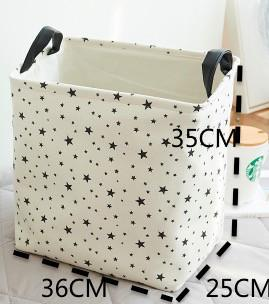 Dunxdeco 1Pc Nordic Modern Black Tree Star Hot Heavy Linen Cotton Storage Basket Table Organiser Kid Room Decoration Photo Prop