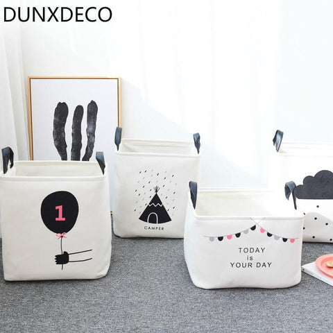 Dunxdeco 1Pc Modern Nordic Hot Black Cloud Flag Artistic Home Office Storage Basket Table Toy Cloth Bathroom Organize Room Decor