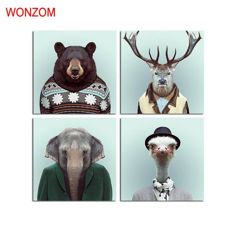 $27.70- Wonzom Bear Canvas Art Animal Decorative Pictures Deer Poster Retro Elephant Wall Canvas Pictures For Home Decor Gift No Frame