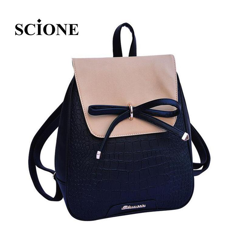 $26.44- Women Backpacks Bow Brand Pu Leather Backpack Travel Casual Bags High Quality Girls School Bag For Teenagers 640T