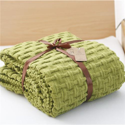 $60.05- Blanket Sofa Slipcover Throws Pure Color on Sofa/Bed/Plane/office Travel Plaids Rectangular Stitching Blankets