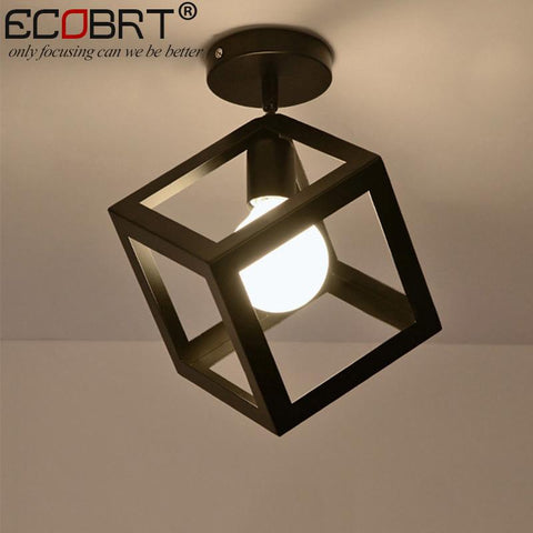 Ecobrt Nordic Style Black Ceiling Lights W/ E27 Socket Fashionable Iron Restaurant Balcony Study Ceiling Lighting Fixtures