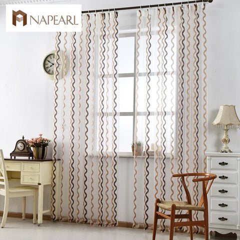 $9.50- Stirped Tulle Curtains Modern Window Treatments White Sheer Fabrics Ready Made Jacquard Kitchen Door Curtains Balcony Short