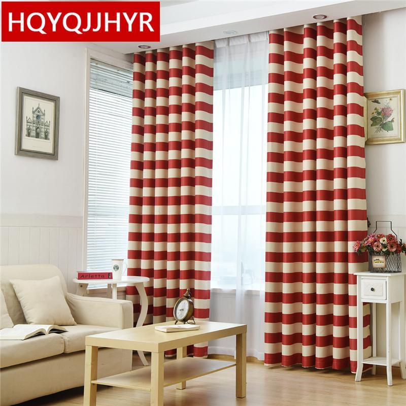 Red Striped Mediterranean Semishaded Curtains For Living Room Sheer Curtains For Kitchen Window Curtain Bedroom /Balcony/Hotel