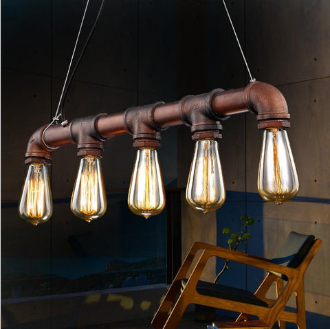$114.16- Loft Vintage Edison Pendant Lights Personalized Bar Lighting Industrial Vintage Water Pipe Pendant Lamp E27Cafe Bar Lamps