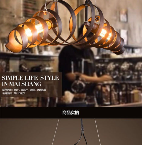Loft Retro Pendant Lights Industrial Wrought Iron Pendant Lamps Cafe Restaurant Suspension Luminaire Light L750Mm Shipping