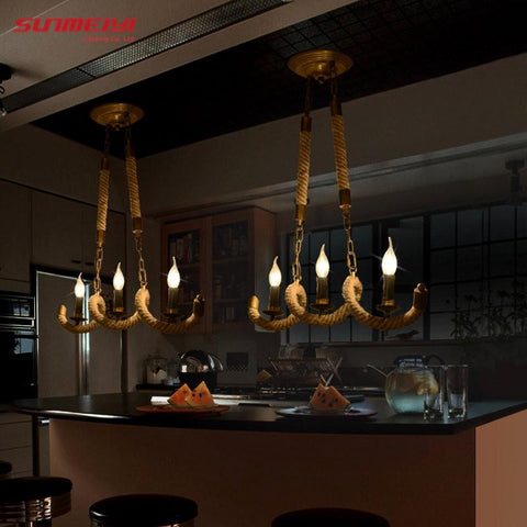 $123.80- Retro Vintage Rope Pendant Light Lamp Loft Creative Personality Industrial Lamp Edison Bulb American Style For Living Room
