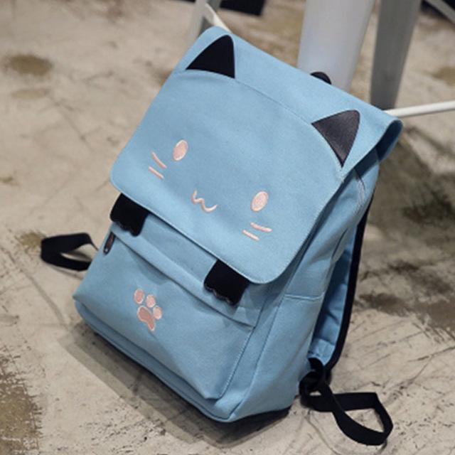 $25.97- New Lovely Cat Backpack Women Canvas Backpack Girls School Bag Cartoon Students Shoulder Bag Mochila Rucksuck Bolsas Xa506B