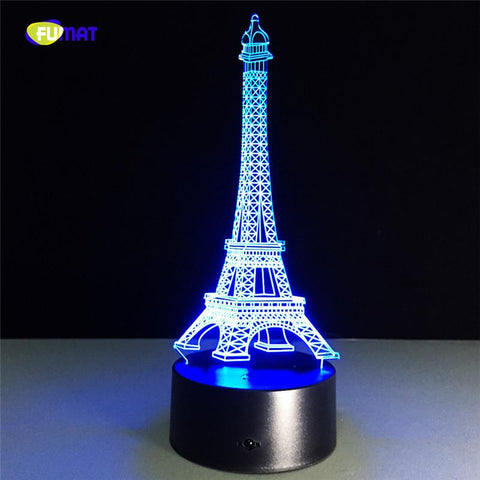 $37.80- Eiffel Tower Night Light New 3D Romantic Creative 7 Color Changing Led Light Usb Decorate Child Gift Lights Lamp