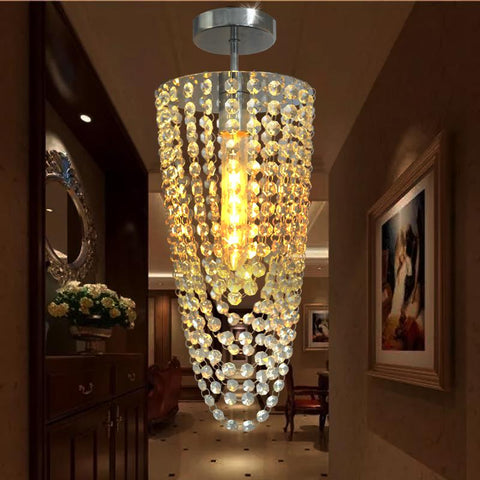 LED 1light Chrome Modern K9 crystal chandelier lighting D17*H45cm AC110V256V Transparent color