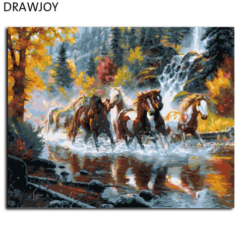 $15.11- Drawjoy Frameless Picture Diy Oil Painting By Numbers Abstract Drawing Unique Gift Wall Art Home Decoration Gx9138 40*50Cm