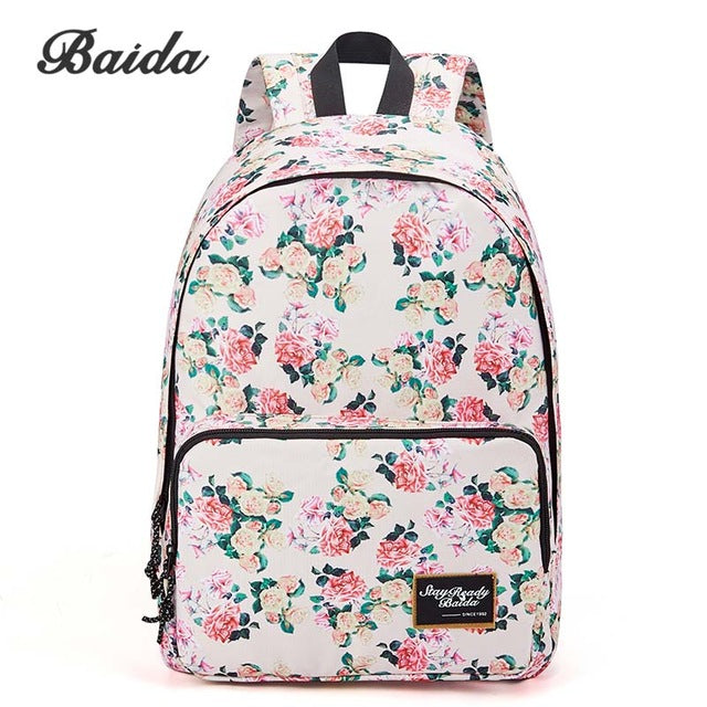 $37.78- Baida Brand Fashion Floral Print Backpack School Book Bags Yellow Pink Rose Flower Backpacks For Teen Girls High School