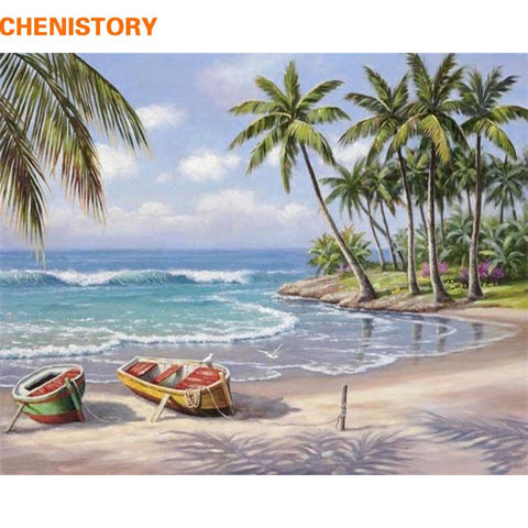 $15.11- Chenistory Boat Seascape Diy Painting By Numbers Kits Coloring Painting By Number Hand Painted Wall Art Picture 40*50Cm Artwork