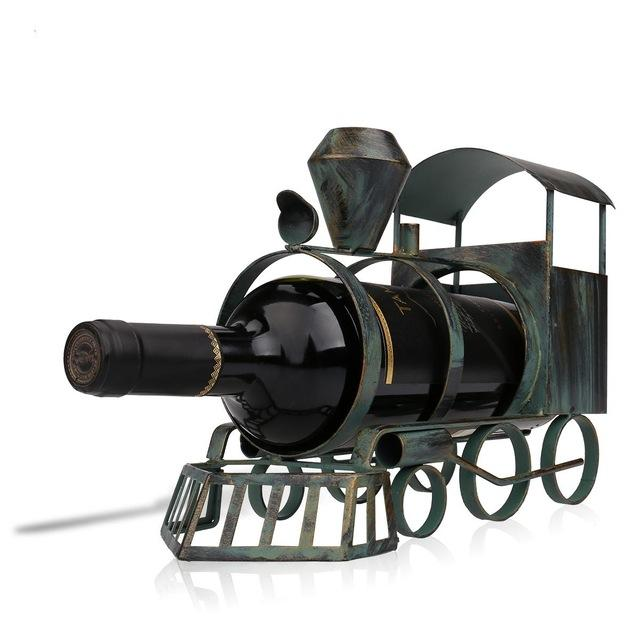 Tooarts Train Wine Bottle Holder Iron Art Creative Metal Wine Rack Classic Craft Bottle Stand Figurines Decoration Artwork Gift