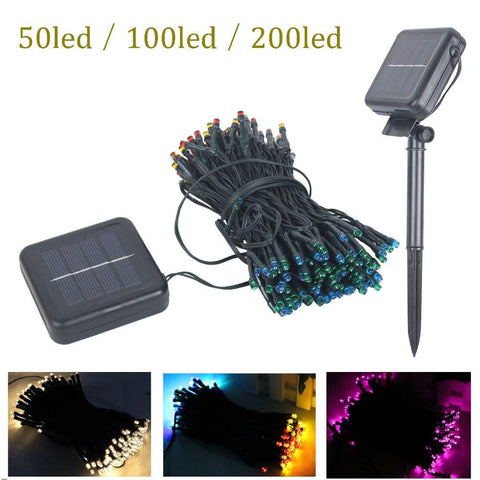 50/100/200 Led Outdoor Solar Sun Lamps Led String Lights Fairy Holiday Christmas Party Garlands Solar Sun Garden Waterproof Lights