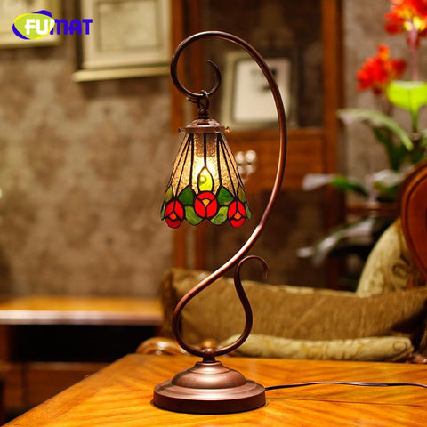 $261.29- Stained Glass Table Lamp European Vintage Flower Shade Table Lamp Living Room Bedside Lights Caffee Bar Light Fixtures