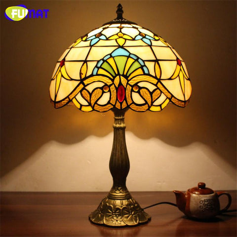 $338.99- Stained Glass Table Lamp Creative Glass Art Lampshade Lampe Living Room Hotel Book Store Bar Decor Light Fixtures