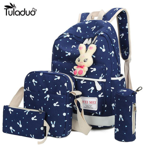 4Pcs/Sets Women Backpacks Cartoon Rabbit Printing School Backpack Canvas Schoolbags For Teenage Girls Students Bag Children