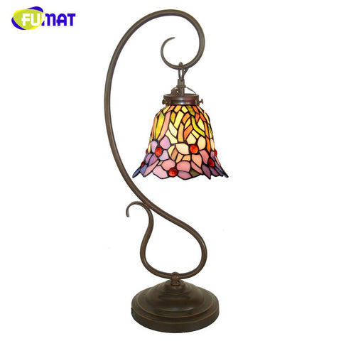 $297.15- Stained Glass Table Lamp Creative Art Glass Orchid Shade Lamp Living Room Bedside Lamps Book Store Bar Light Fixtures