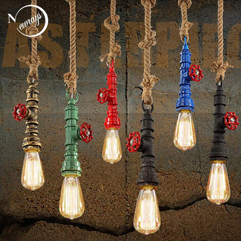 $55.94- Diy Loft Retro Industrial Vintage Steampunk Water Pipe Colorful Pendant Lamp E27 Hemp Rope Light For Bar Restaurant Dining Room