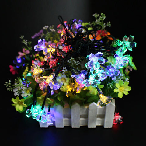 $21.31- Led Solar Sun String Lights 7Meter 50 Leds Peach Flower Waterproof Outdoor Christmas Party Wedding Romantic Decoration Lighting Lamp
