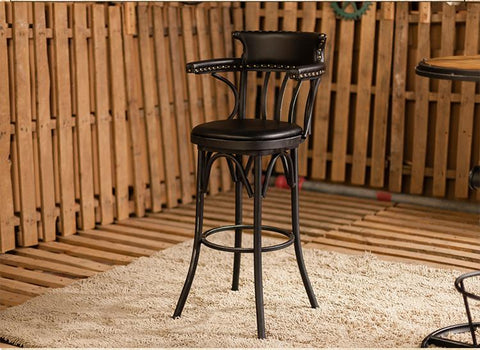 $475.60- American Wrought Iron Rotating Bar Chair. Retro Bar Chair. High Back Of A Chair At The Front Desk Chair.