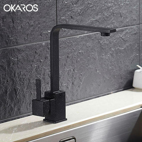 $85.36- OKAROS New Design Kitchen Faucet Quartz Stone Brass Body 360 Degree Rotation Vessel Sink Basin faucet Single Handle Mixer Tap