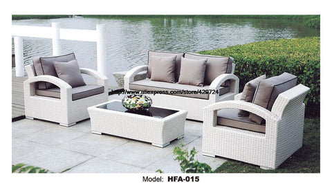 $1703.45- White Rattan Sofa Purple Cushions Garden Outdoor Patio Sofa Rattan Furniture Swing Pool Table Chair Rattan Sofa Set
