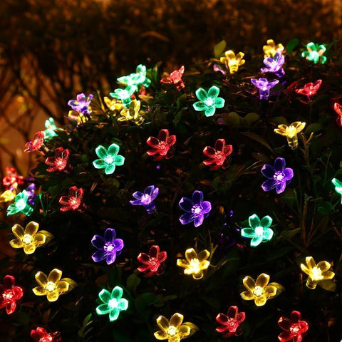 $19.42- Solar Sun Power Fairy String Lights 7M 50 Led Ledertek Peach Blossom Decorative Garden Lawn Patio Christmas Trees Wedding Party
