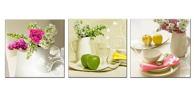 Buy 3 Pcs Canvas Paintings For Kitchen Fruit Wall Decor Modern ...