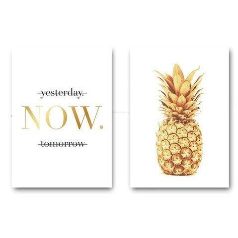 $7.75- Pineapple Motivational Quotes Minimalist Nordic Poster Wall Art Canvas Painting Modern Picture Print Home Office Room Decoration