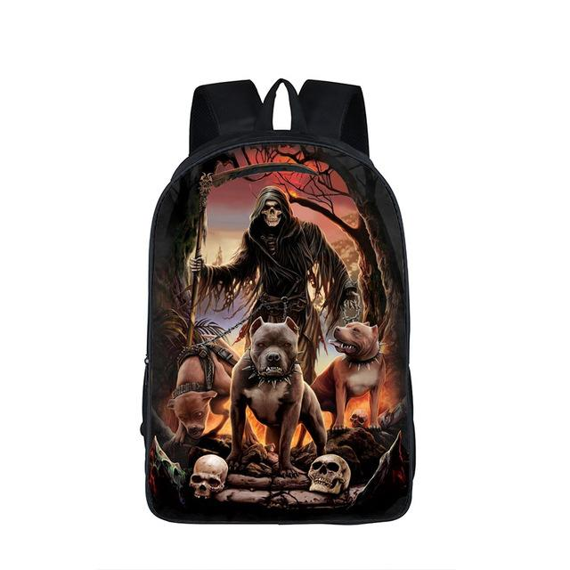 $37.33- Cool Skull Reaper Backpack For Teenage Boys Children School Bags Rock Backpacks Women Men Hip Hop Backpack Kids Book Bag