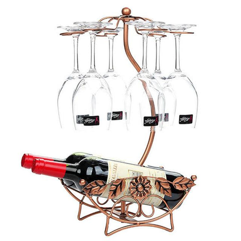 $33.44- Hipsteen Flower Pattern Iron 6 Wine Glass Hanger Goblet Drying Rack Stand Red Wine Bottle Holder Bronze