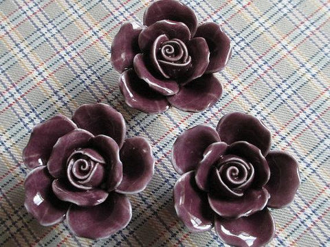 $8.13- Rose Flower / Shabby Chic Dresser Knobs / Ceramic Drawer Knobs Handles / Unique Cabinet Knobs Pull Handle Hardware Dark Purple