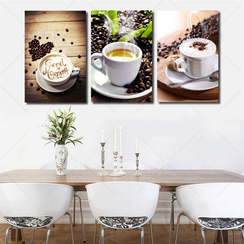 $8.40- 3 Panels Unframed Canvas Photo Prints Modern Kitchen Scene Coffee Wall Art Picture Canvas Paintings Wall Decoration