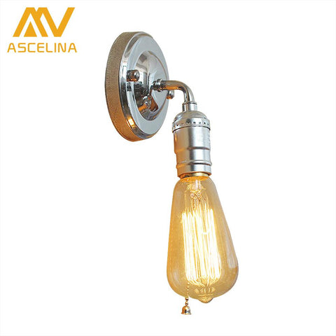 $11.57- ASCELINA Wall lamp Loft Vintage Industrial Edison Wall lamps Sconce Wall Light Fixtures E27 110V/220V Bedside Lighting for bar