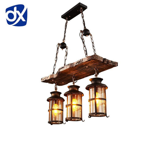 $261.34- New Original Design Retro Industrial Pendant Lamp 3 Head Old Boat Wood American Country style Nostalgia Light