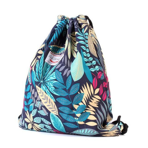Osmond 2017 New Ethnic Summer Vintage Drawstring Backpack Bag Bohemian Leaf Pattern Oxford String Bag Drawstring Bag Girls