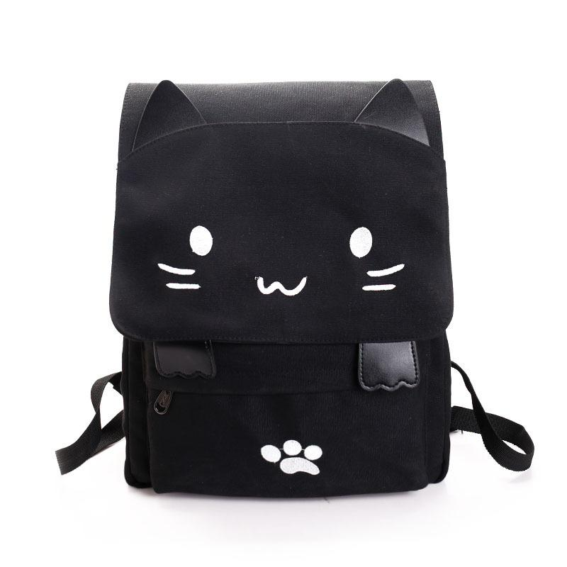 $25.85- Cute Backpack Women Canvas Big Black School Bags For Teenagers Girls Book Bag Embroidery Printing Cat Back Bags Rucksack Bookbag